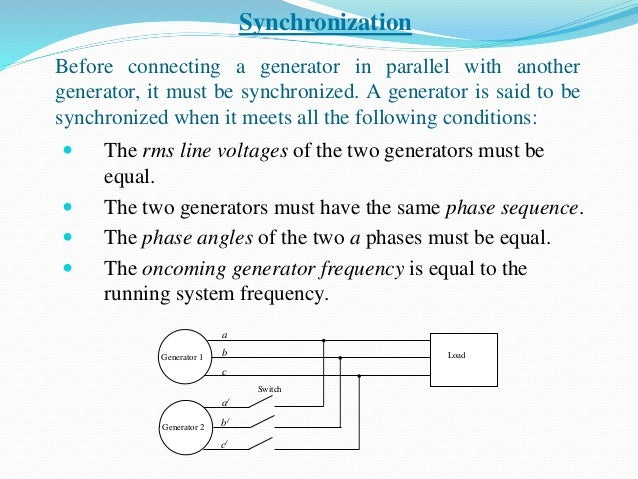 Before connecting a generator in parallel with another generator, it must be synchronized. A generator is said to be synch...