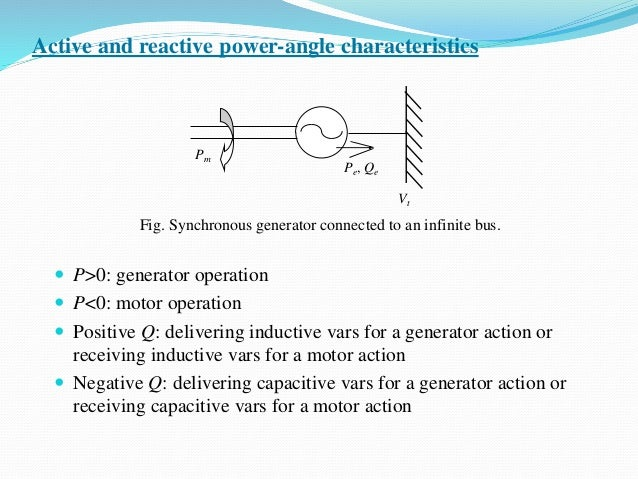 Active and reactive power-angle characteristics  P>0: generator operation  P<0: motor operation  Positive Q: delivering...