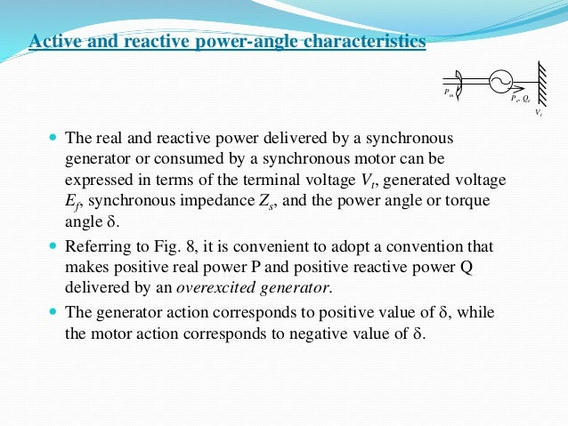 Active and reactive power-angle characteristics  The real and reactive power delivered by a synchronous generator or cons...