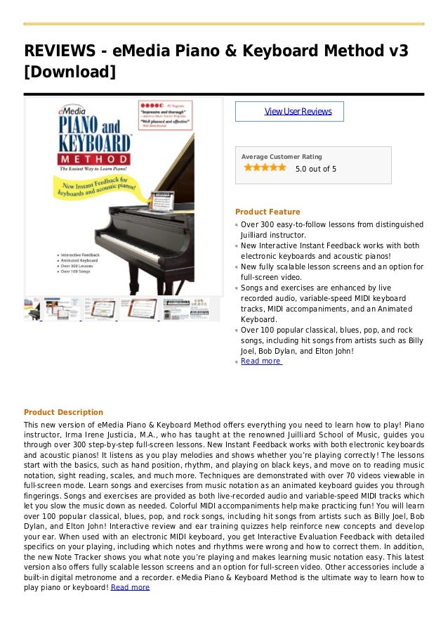REVIEWS - eMedia Piano & Keyboard Method v3[Download]ViewUserReviewsAverage Customer Rating5.0 out of 5Product FeatureOver...