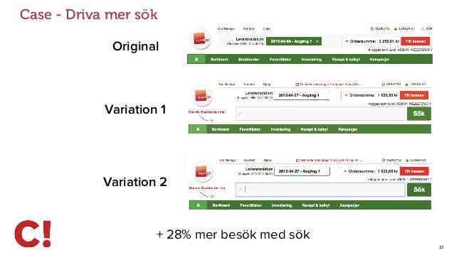 23 Case - Driva mer sök Original Variation 1 + 28% mer besök med sök Variation 2
