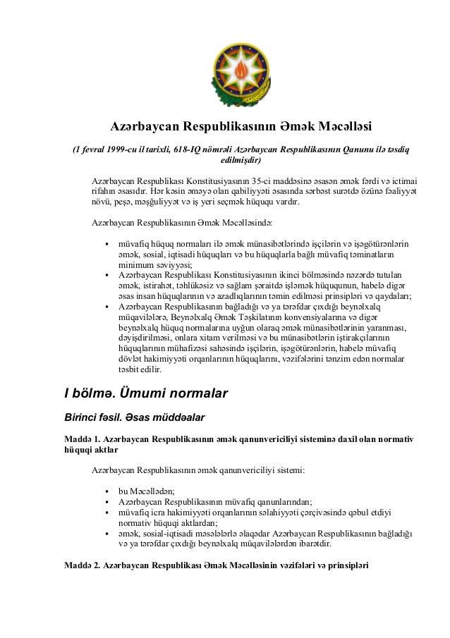 Azerbaycan Respublikasının Bmek Mecellesi  (1 fevral 1999-cu il tarılxlı', 618-IQ nömralı' Azerbaycan Respublikasının Qanu...
