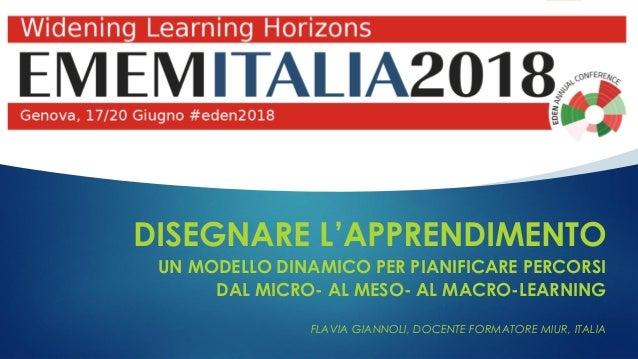 DISEGNARE L'APPRENDIMENTO UN MODELLO DINAMICO PER PIANIFICARE PERCORSI DAL MICRO- AL MESO- AL MACRO-LEARNING FLAVIA GIANNO...