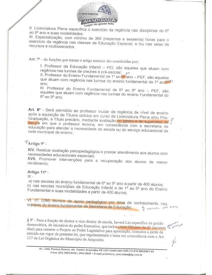 Emenda d 29 dezembro 2009 altera estatuo magisterio aracoiaba pe
