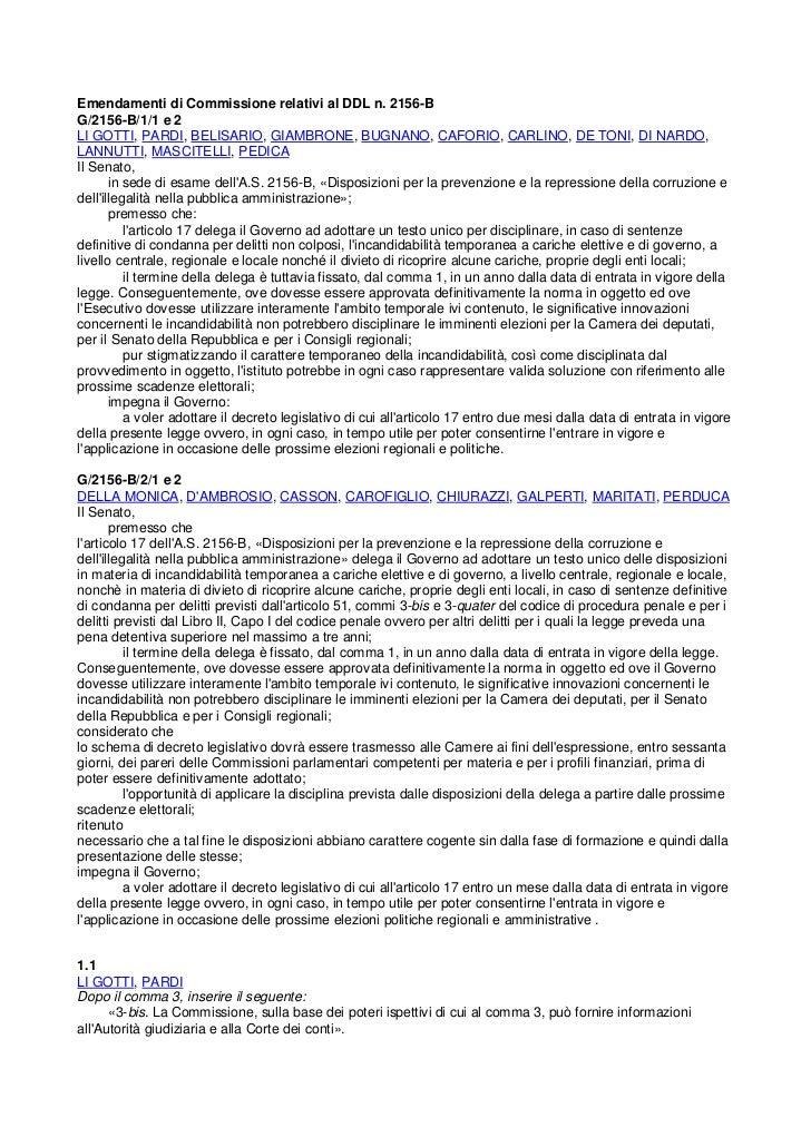 Emendamenti di Commissione relativi al DDL n. 2156-BG/2156-B/1/1 e 2LI GOTTI, PARDI, BELISARIO, GIAMBRONE, BUGNANO, CAFORI...
