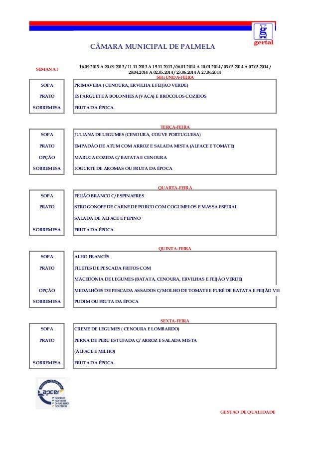 CÂMARA MUNICIPAL DE PALMELA SEMANA I SOPA PRATO SOBREMESA  16.09.2013 A 20.09.2013 / 11.11.2013 A 15.11.2013 / 06.01.2014 ...
