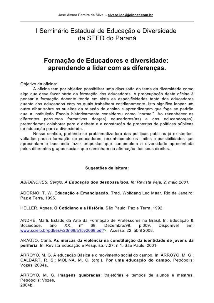 Ementa Da Oficina E Bibliografia Sobre FormaçãO De Educadores E Diversidades