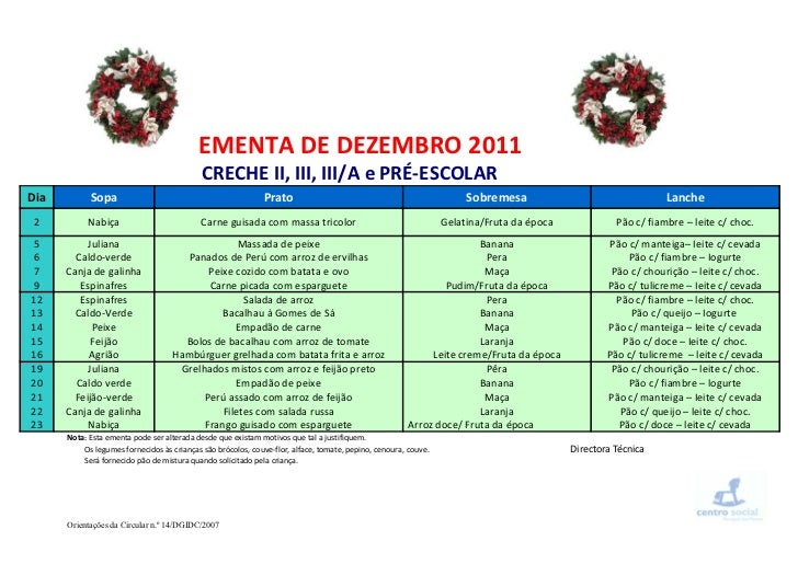 Ementa dezembro   2011