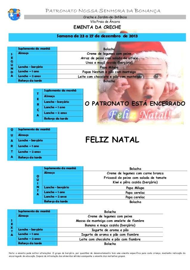 PATRONATO NOSSA SENHORA DA BONANÇA Creche e Jardim-de-Infância Vila Praia de Âncora  EMENTA DA CRECHE  Semana de 23 a 27 d...