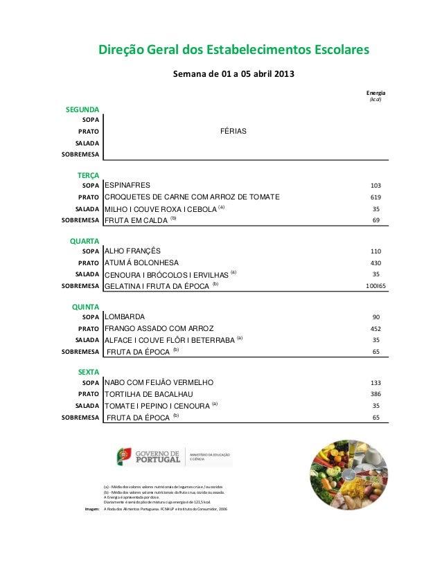 Direção Geral dos Estabelecimentos Escolares                                                           Semana de 01 a 05 a...