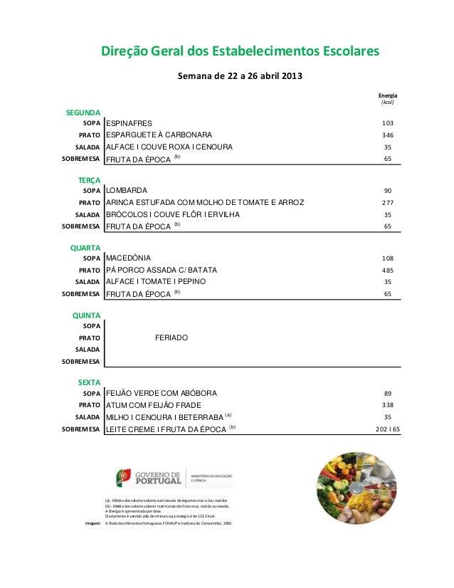 Direção Geral dos Estabelecimentos Escolares                                                            Semana de 22 a 26 ...