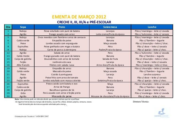 EMENTA DE MARÇO 2012                                                            CRECHE II, III, III/A e PRÉ-ESCOLARDia    ...