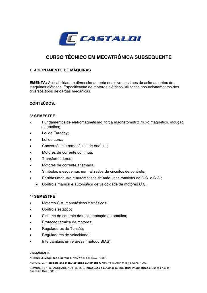 CURSO TÉCNICO EM MECATRÔNICA SUBSEQUENTE1. ACIONAMENTO DE MÁQUINASEMENTA: Aplicabilidade e dimensionamento dos diversos ti...