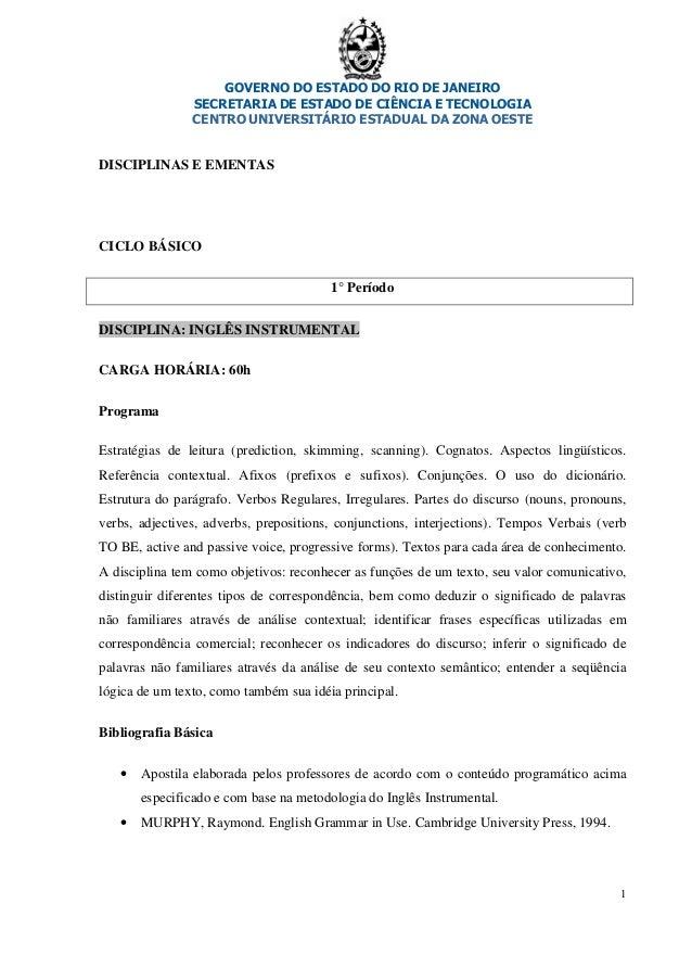 GOVERNO DO ESTADO DO RIO DE JANEIRO SECRETARIA DE ESTADO DE CIÊNCIA E TECNOLOGIA CENTRO UNIVERSITÁRIO ESTADUAL DA ZONA OES...