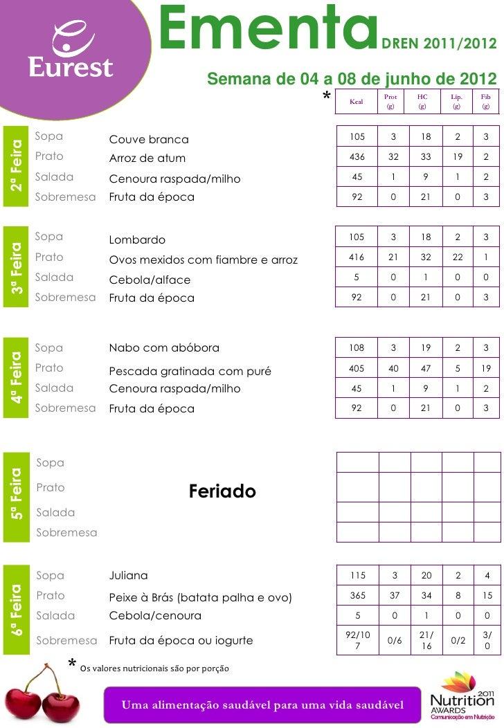 Ementa                                DREN 2011/2012                                                      Semana de 04 a 0...