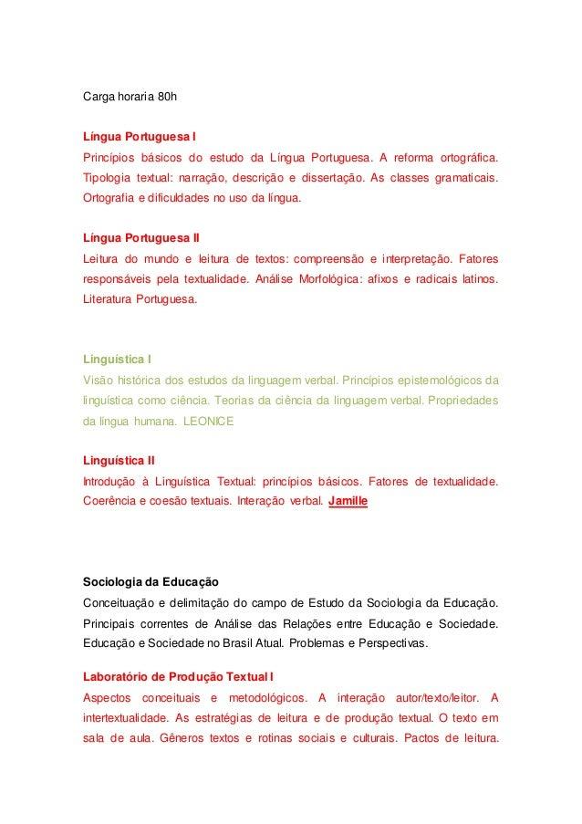 Carga horaria 80h Língua Portuguesa I Princípios básicos do estudo da Língua Portuguesa. A reforma ortográfica. Tipologia ...