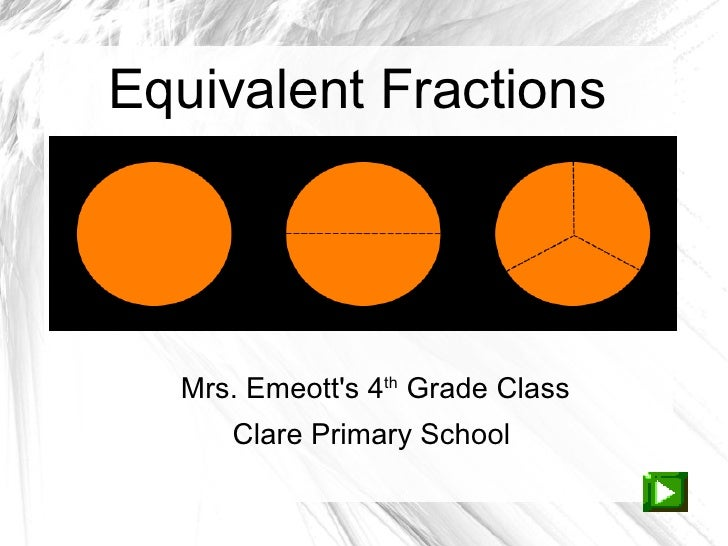 Equivalent Fractions  Mrs. Emeotts 4th Grade Class     Clare Primary School