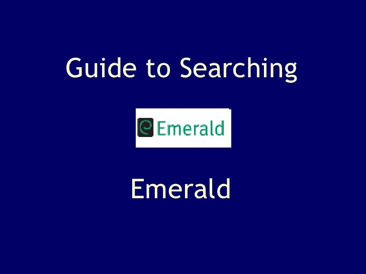 Guide to Searching Emerald