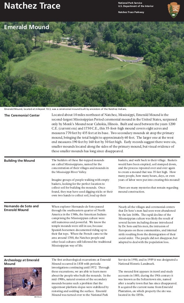 Located about 10 miles northeast of Natchez, Mississippi, Emerald Mound is the second-largest Mississippian Period ceremon...