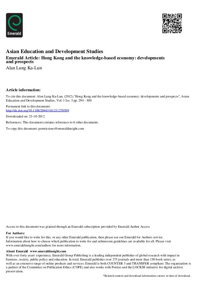 Asian Education and Development StudiesEmerald Article: Hong Kong and the knowledge-based economy: developmentsand prospec...