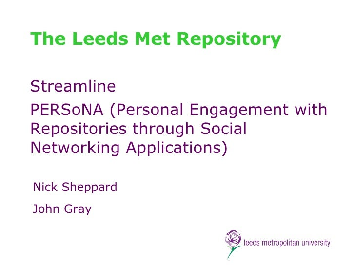 The Leeds Met Repository Streamline PERSoNA (Personal Engagement with Repositories through Social Networking Applications)...