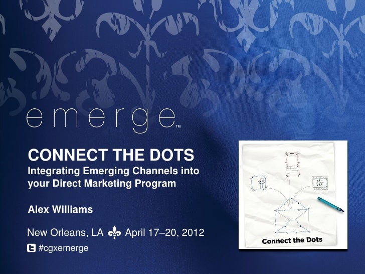 ™CONNECT THE DOTSIntegrating Emerging Channels intoyour Direct Marketing ProgramAlex WilliamsNew Orleans, LA    April 17–2...