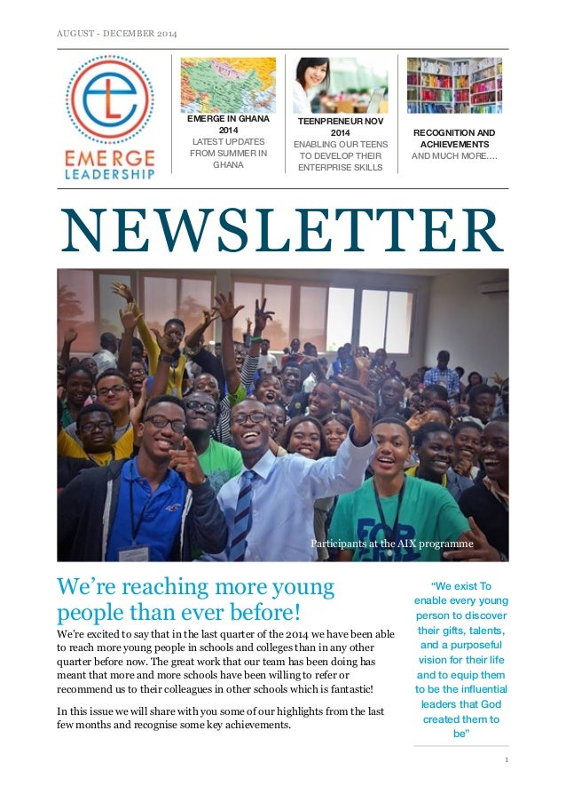 AUGUST - DECEMBER 2014  NEWSLETTER  Participants at the AIX programme  We're reaching more young  people than ever before!...
