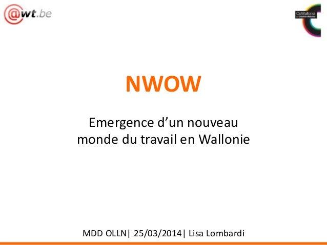 NWOW Emergence d'un nouveau monde du travail en Wallonie MDD OLLN| 25/03/2014| Lisa Lombardi