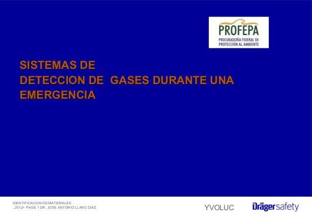 IDENTIFICACION DE MATERIALES , 2012• PAGE 1 DR. JOSE ANTONIO LLANO DIAZ YVOLUC SISTEMAS DESISTEMAS DE DETECCION DE GASES D...