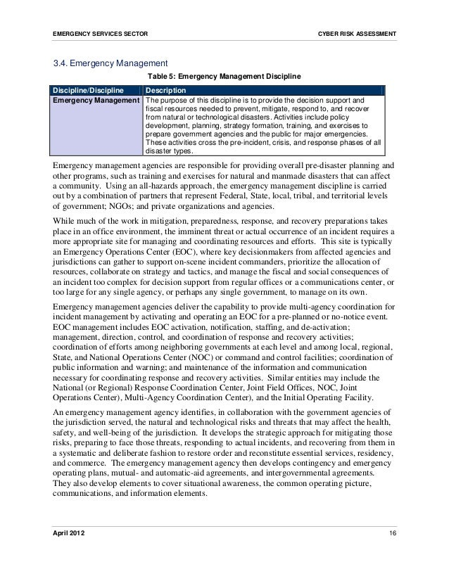 risk analysis for emergency management essay Risk manager, in inpatient settings, it could be quality manger in outpatient settings, it is frequently the  management and technology, vol 3, no 4, august 2012 417 index terms—hospitals, liability, medical negligence, risk management  the purpose of the risk management committee will be to.