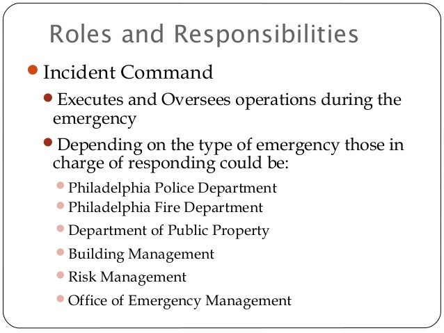 Emergency Action Plan And Response By The City Of Philadelphia