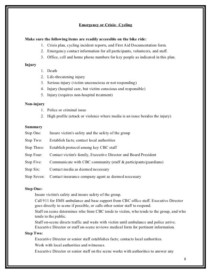 Emergency action plan updated 2011