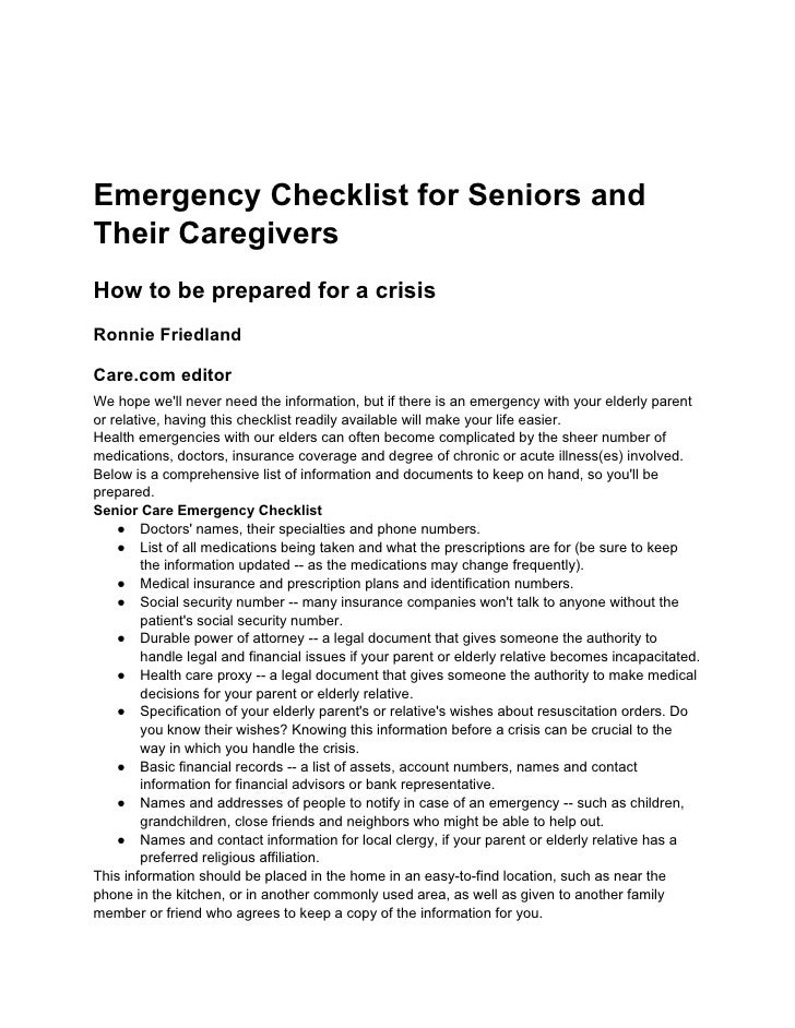 Emergency checklist for seniors and their caregivers