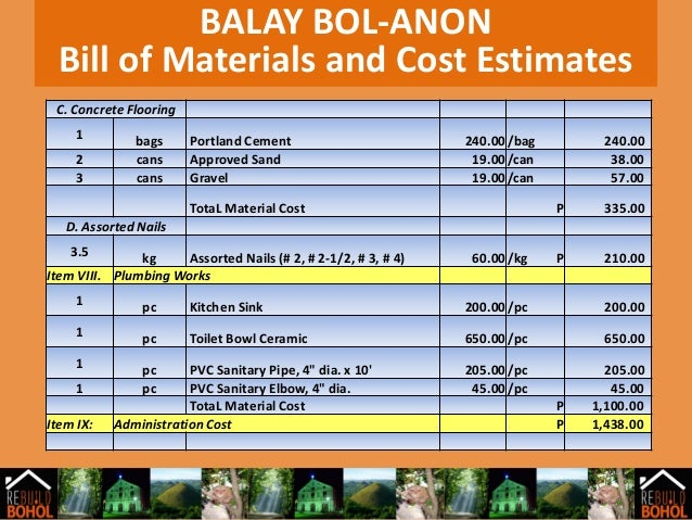 bill of materials and cost estimate Implementation considerations before a cost estimate with a quantity structure can be created, a bill of materials and routing (pp) or a master recipe (pp-pi) must.
