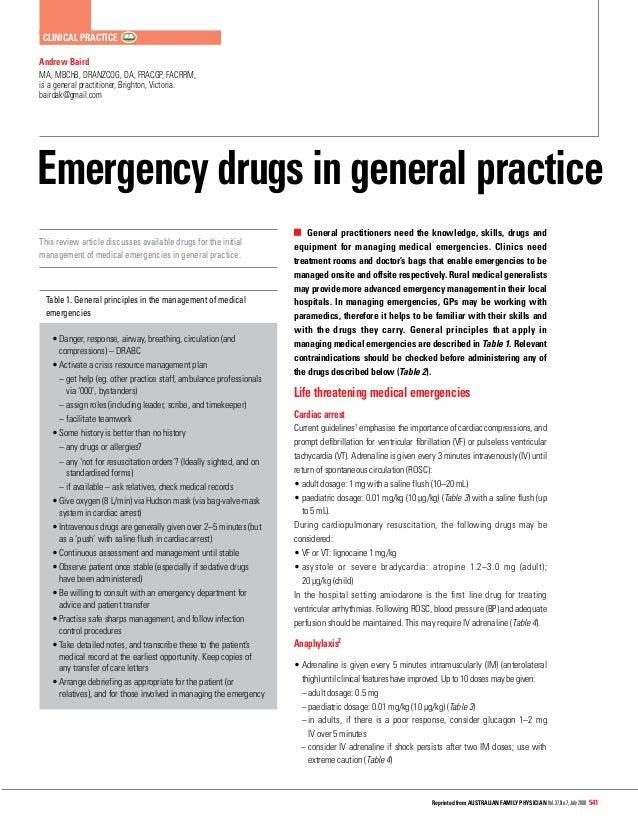 Emergency Room Medications List