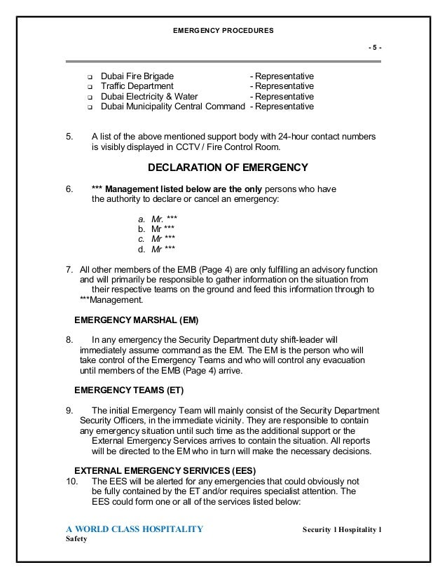 emergency evocation plan