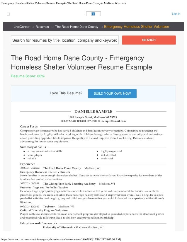 Emergency Homeless Shelter Volunteer Resume Example The Road Home Dane Coun