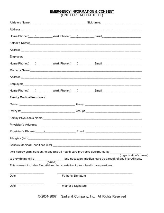 Printable Medical Release Form For Minors. Emergency Information Medical  Consent Form .