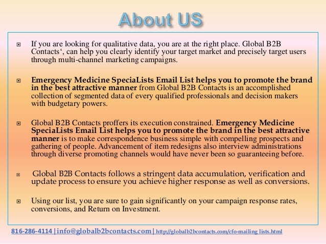 Emergency medicine specia lists email list helps you to promote the brand in the best attractive manner Slide 2