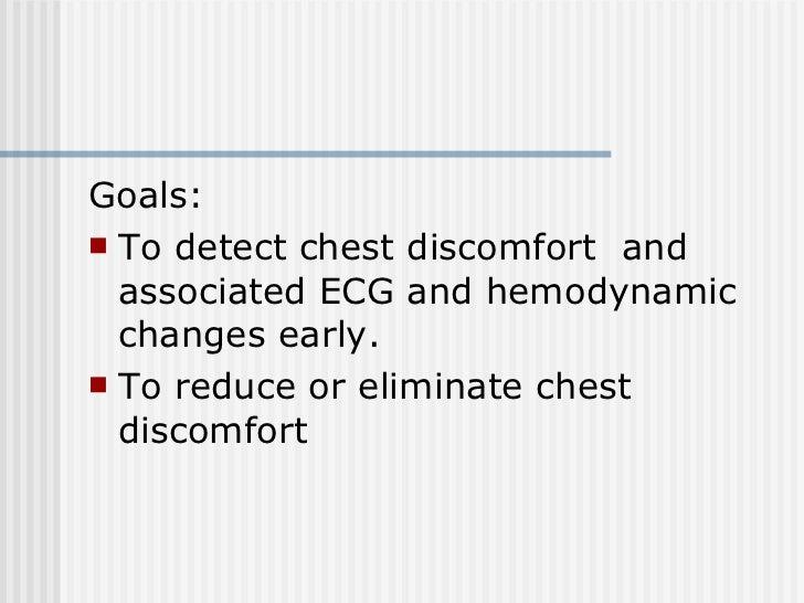 <ul><li>Goals:  </li></ul><ul><li>To detect chest discomfort  and associated ECG and hemodynamic changes early.  </li></ul...