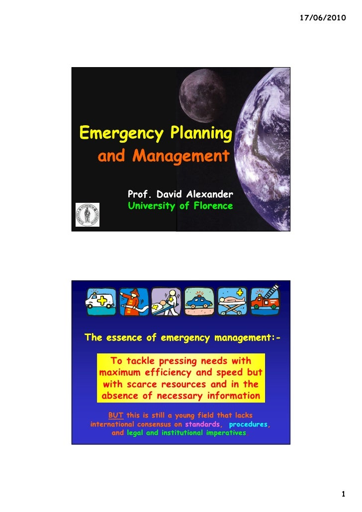 emergency planning Planning is an important avenue to community emergency preparedness the practice of emergency response planning is best thought of as a process - a continuing sequence of analyses, plan.