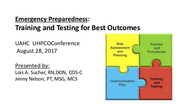 Emergency Preparedness: Training and Testing for Best Outcomes UAHC UHPCOConference August 28, 2017 Presented by: Lois A. ...