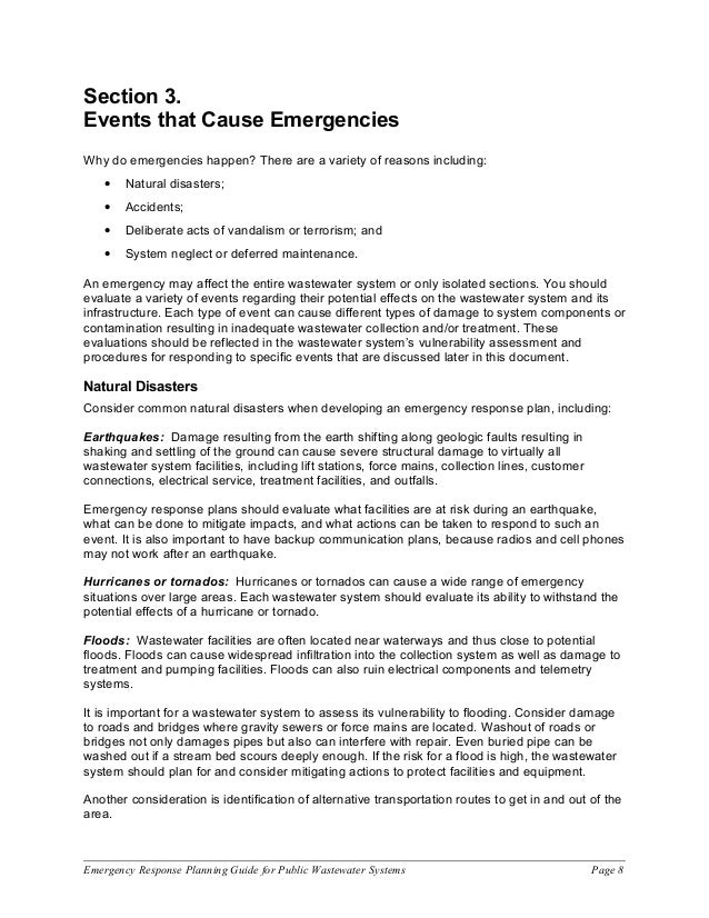 Emergency Response Planning Guide For Public Wastewater Syst