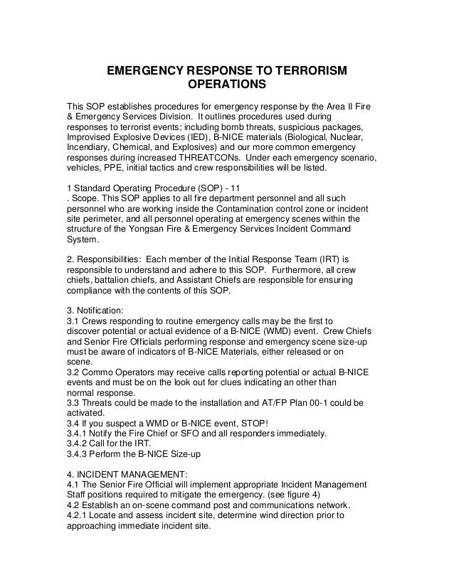 EMERGENCY RESPONSE TO TERRORISM OPERATIONS This SOP establishes procedures for emergency response by the Area II Fire & Em...