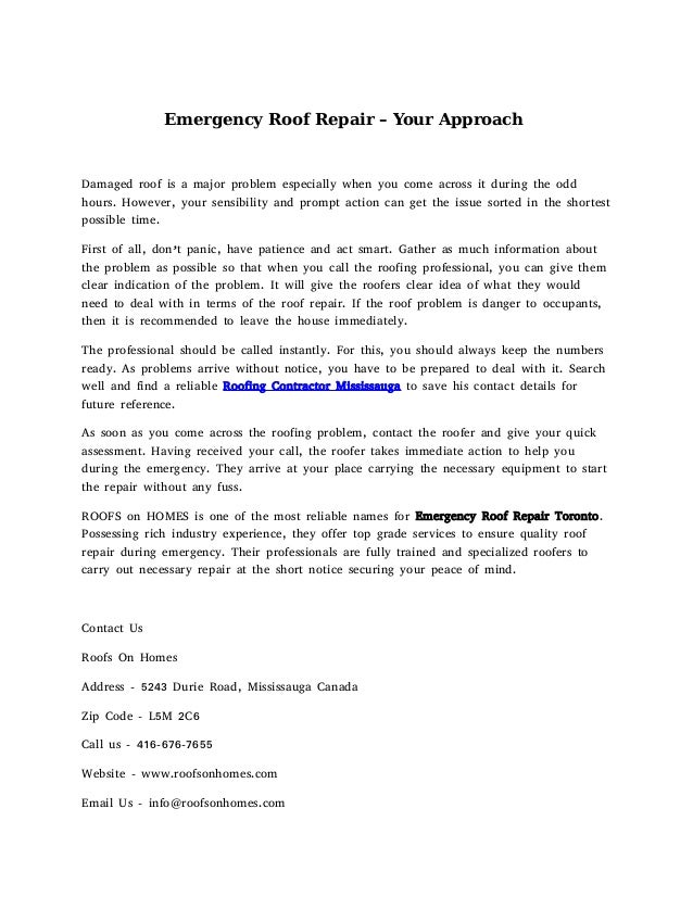 Emergency Roof Repair Your Approach