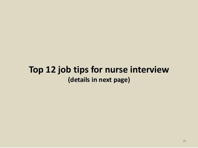 Top 12 Job Tips For Nurse .
