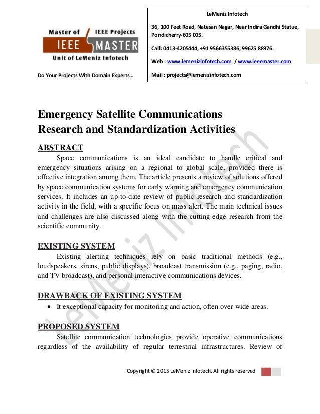 Research papers in satellite communication