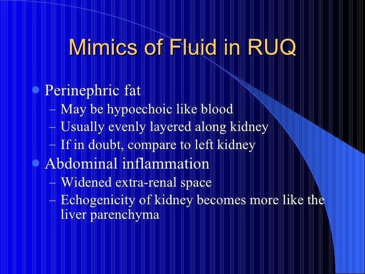 Mimics of Fluid in RUQ <ul><li>Perinephric fat </li></ul><ul><ul><li>May be hypoechoic like blood </li></ul></ul><ul><ul><...