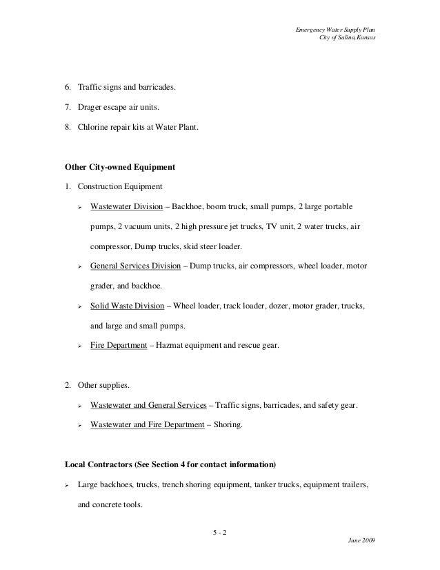 City Of Salina Emergency Water Supply Plan