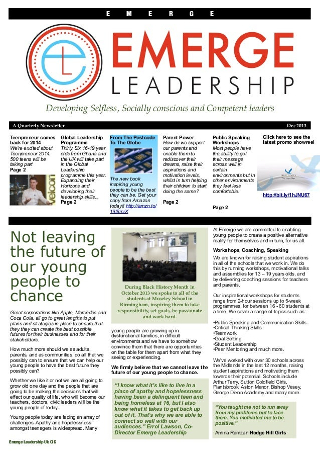 E  M  E  R  G  E  Developing Selfless, Socially conscious and Competent leaders A Quarterly Newsletter ! Teenpreneur comes ...